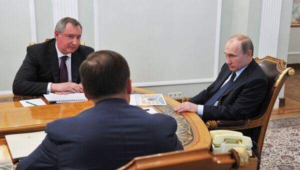 Президент РФ В.Путин встретился с вице-премьером Д.Рогозиным и главой Роскосмоса И.Комаровым