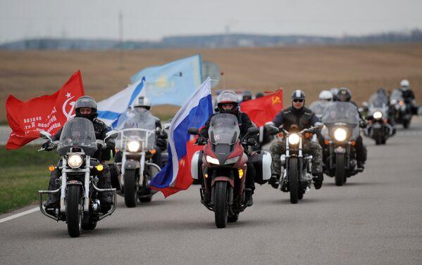 Участники мотопробега клуба Ночные волки, посвященного празднованию 70-летия Победы в Великой Отечественной войне в Минске, Белоруссия