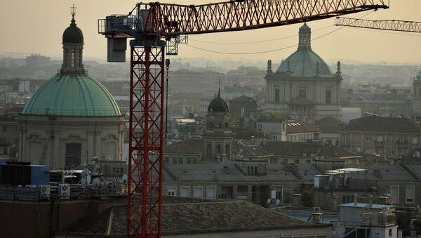 Вид на город с террасы Миланского кафедрального собора. Милан