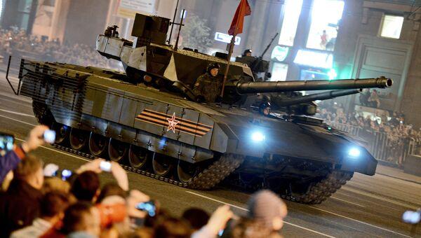 Танк Т-14 на гусеничной платформе Армата во время репетиции военного парада в Москве в ознаменование 70-летия Победы в Великой Отечественной войне 1941-1945 годов. Архивное фото