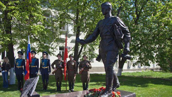 Открытие памятника фронтовому почтальону в Воронеже