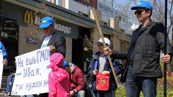 Пикеты против ресторанов с продукцией содержащей ГМО