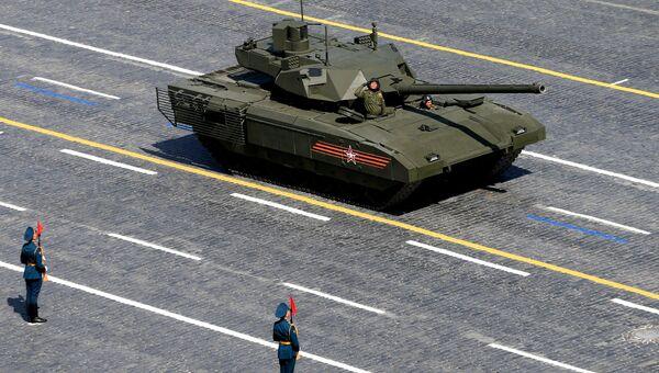 Танк Т-14 на гусеничной платформе Армата во время военного парада в ознаменование 70-летия Победы в Великой Отечественной войне