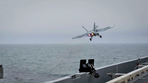 Истребитель США Boeing F/A-18F Super Hornet. Архивное фото