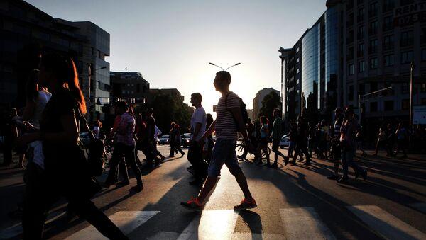 На улицах македонского города Скопье. Архивное фото