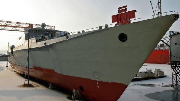 Спуск на воду фрегата Гепард 3.9 для ВМС Вьетнама на ОАО Зеленодольский завод имени А.М.Горького. Архивное фото