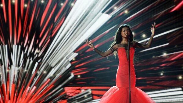 Амината Савадого (Латвия) на репетиции второго полуфинала конкурса Евровидение 2015 в Вене