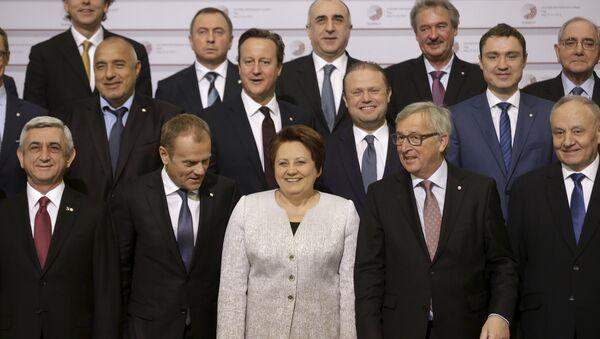 Совместное фото лидеров ЕС на саммите Восточное партнерство в Риге, Латвия