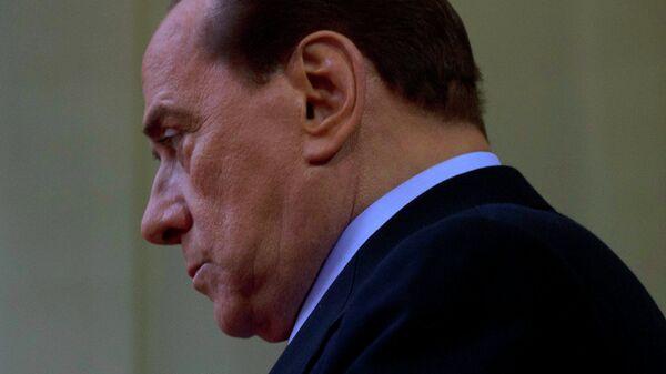 Премьер-министр Италии Сильвио Берлускони во Дворце экспозиций в Риме