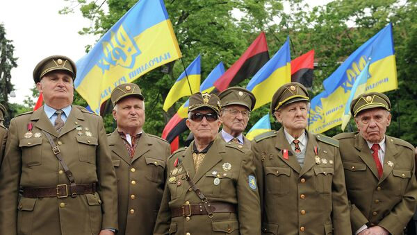 Ветераны Украинской повстанческой армии во время марша в день Праздника Героев во Львове. 24 мая 2015