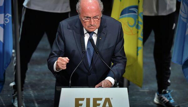 Президент ФИФА Йозеф Блаттер на церемонии открытия 65-го Конгресса ФИФА в Цюрихе, Швейцария. 28 мая 2015