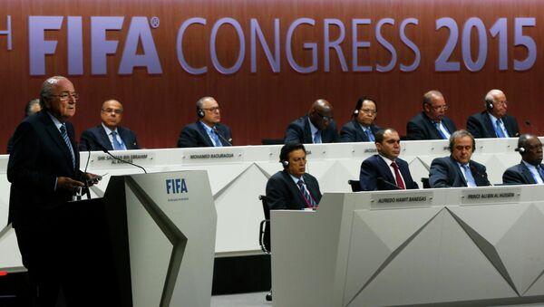 Президент ФИФА Йозеф Блаттер на конгрессе в Цюрихе
