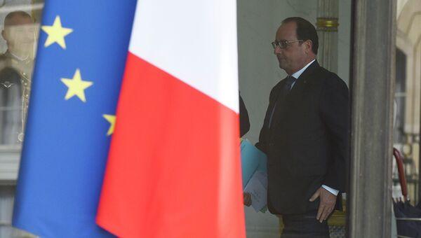 Президент Франции Франсуа Олланд в Елисейском дворце в Париже. 24 июня 2105