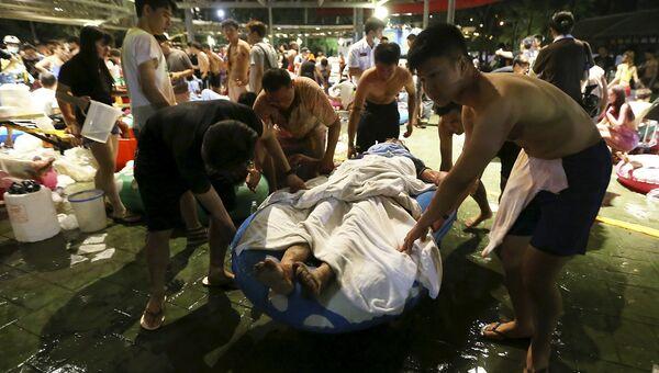 Раненые в результате взрыва в парке развлечений в городе Синьбей, Тайвань