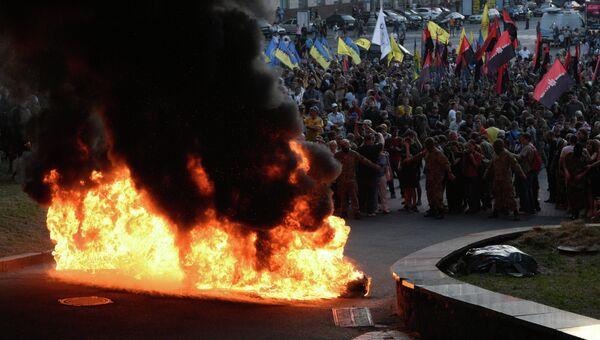 Участники марша представителей праворадикальных организаций в Киеве
