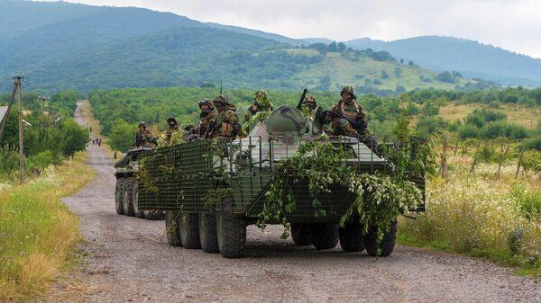 Украинские военные патрулируют местность возле Мукачево