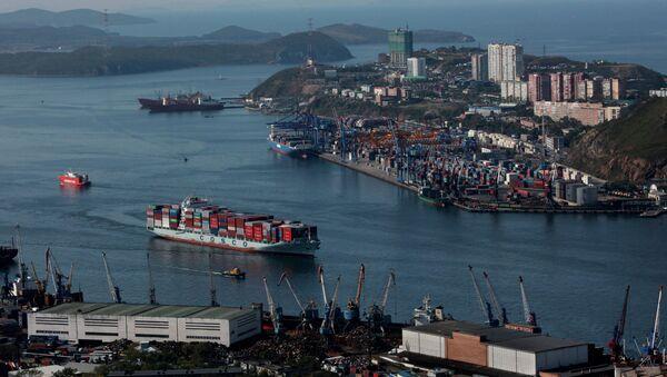 Виды Владивостока и бухты Золотой Рог с пилона вантового моста. Архивное фото