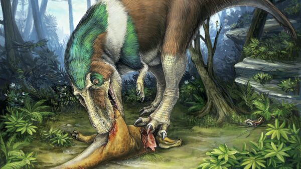 Горгозавр, один из родичей тираннозавра, поедает жертву