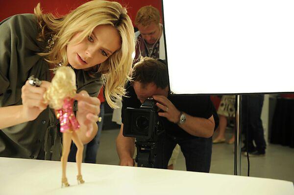 Модель Хайди Клум и ее кукла Барби