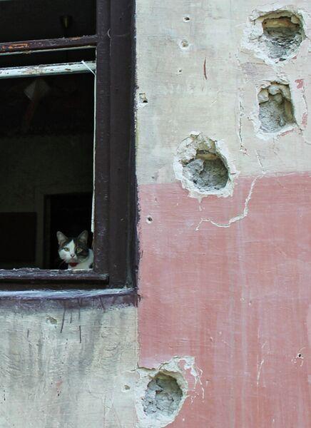 Поврежденный в результате обстрела дом в Горловке