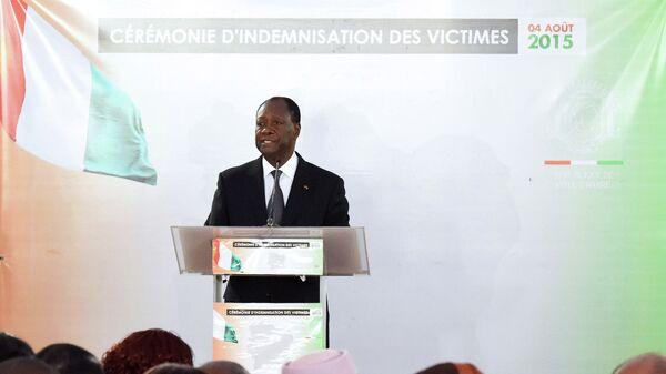 Президент Кот-д'Ивуара Алассан Уаттара выступает в президентском дворце в Абиджане