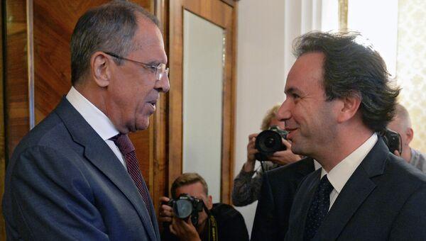 Встреча главы МИД РФ С.Лаврова с главой Национальной коалиции оппизиции Сирии Х.Ходжей