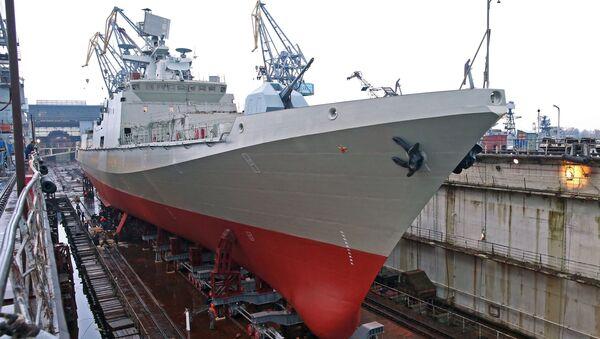Сторожевой корабль Адмирал Эссен на Прибалтийском судостроительном заводе Янтарь. Архивное фото