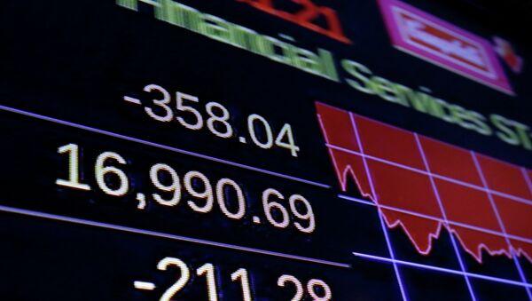 Табло с индексом Доу Джонса на Нью-йоркской фондовой бирже, США