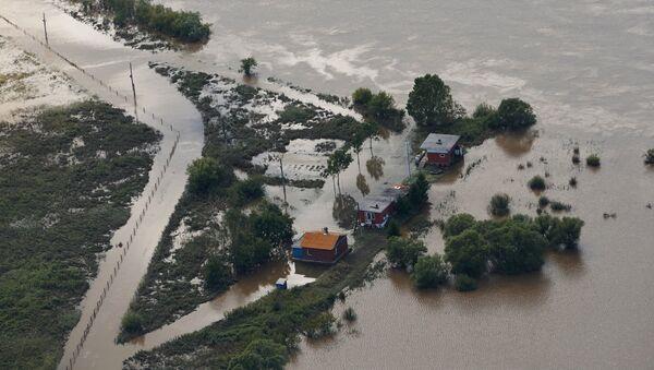 Затопленная в результате паводка деревня в Уссурийском районе Приморского края