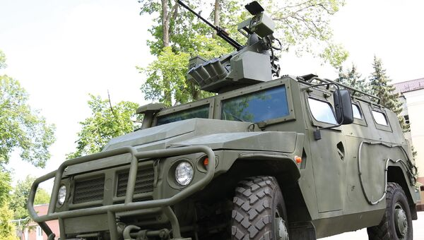 Боевой модуль Арбалет-ДМ, установленный на бронированном автомобиле Тигр. Архивное фото
