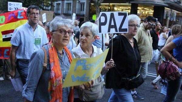 Митинг в защиту беженцев в Мадриде