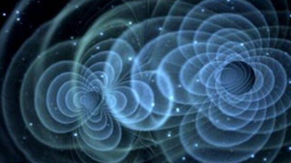 Так художник представил себе гравитационные волны, вырабатываемые сливающимися черными дырами
