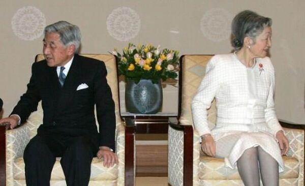 Во время аудиенции у императора Японии Акихито и его супруги императрицы Митико