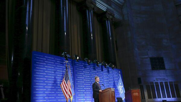 Выступление Петра Порошенко в Колумбийском Университете в Нью-Йорке