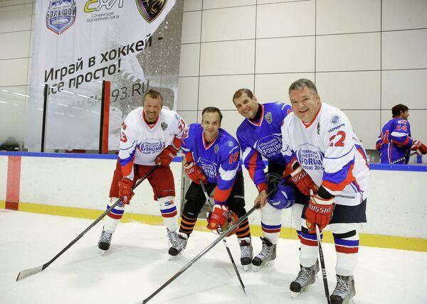 Хоккей матч с участием членов правительства РФ в рамках форума Сочи-2015