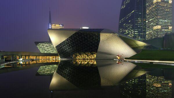 Здание оперного театра в Гуанчжоу (Guangzhou Opera House), Китай. Архивное фото