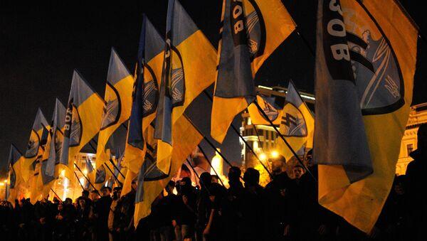Участники Правого сектора во время марша в честь годовщины создания УПА на Украине. Архивное фото