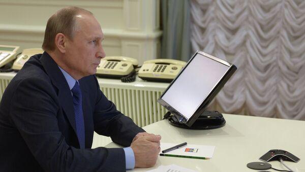 Президент РФ Владимир Путин в Кремле во время церемонии, на которой в режиме телемоста дал старт строительству трубопровода Ухта - Торжок - 2
