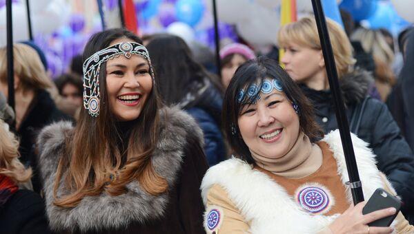 Участники шествия и митинга Мы едины! в Москве в честь Дня народного единства
