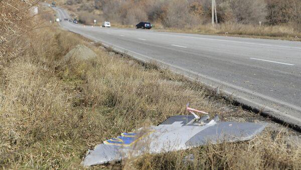 На месте крушения самолета Су-25 ВВС Украины в Запорожской области. 11 ноября 2015