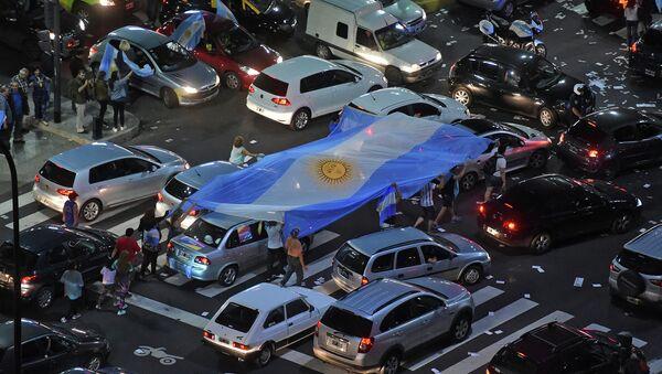 Сторонники партии Маурисио Макри после президентских выборов в Буэнос-Айресе, Аргентина