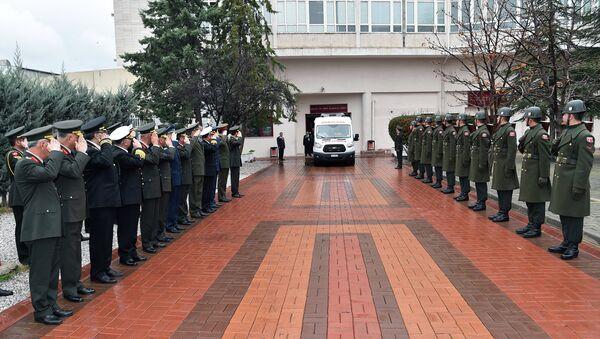Официальная церемония передачи тела летчика Су-24 Олега Пешкова в Анкаре, Турция