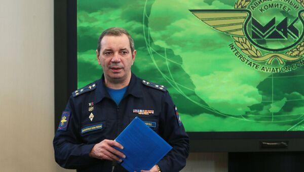 Председатель Комиссии по расследованию авиационного происшествия Николай Примак после брифинга в связи с началом процедуры считывания и дешифрации информации бортовых средств объективного контроля самолета Су-24М, сбитого 24 ноября 2015 года в небе Сирии истребителем ВВС Турции