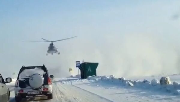 В Алтайском крае на федеральную трассу приземлился Ми-8