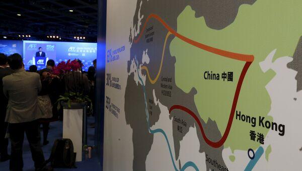 Карта Экономического пояса Шелкового пути, представленная на Азиатском финансовом форуме в Гонконге