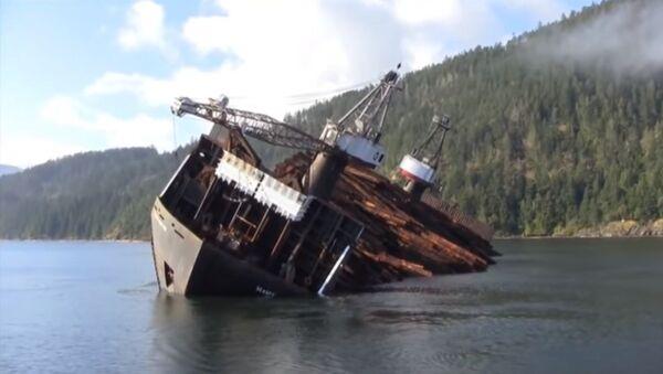 Интересный способ разгрузить корабль с лесоматериалами