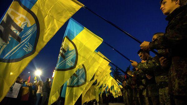 Участники марша по случаю 72-й годовщины образования Украинской повстанческой армии в Харькове. Архивное фото