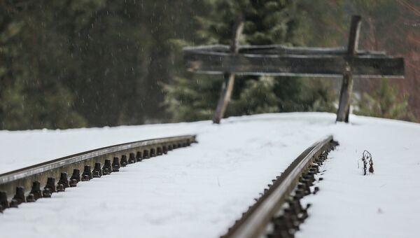 Железнодорожный тупик полустанка Собибор - место выгрузки заключенных, рядом с лагерем смерти