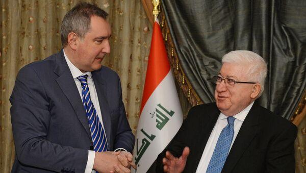 Заместитель председателя правительства Российской Федерации Дмитрий Рогозин и президент Республики Ирак Фуад Масум. Архивное фото