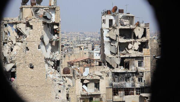 Вид на Алеппо со стороны пригорода, контролируемого правительственными войсками. Архивное фото